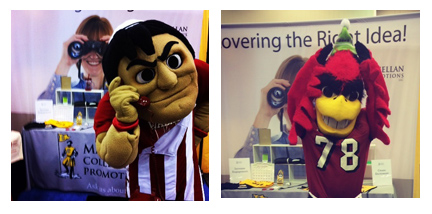 mascots in booth
