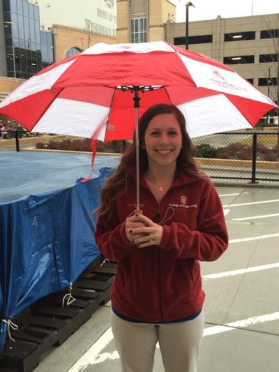 UW Madison College of Engineering fleece jacket and umbrella