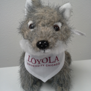 stuffed gray wolf for Loyola First Year Experience