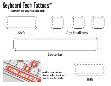 This sheet comes with stickers for the space bar three letter keys and two shift keys